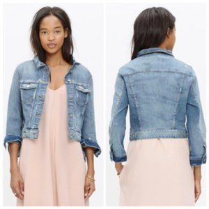Madewell Denim Jacket cropped distressed size M